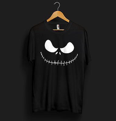 Jack Skellington T Shirt Face Head Pumpkin Halloween Scary Monster Kids Costume