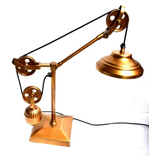Working Adjustable Electric Handmade Brass Pulley Lamp Nautical Table Lamp Decor