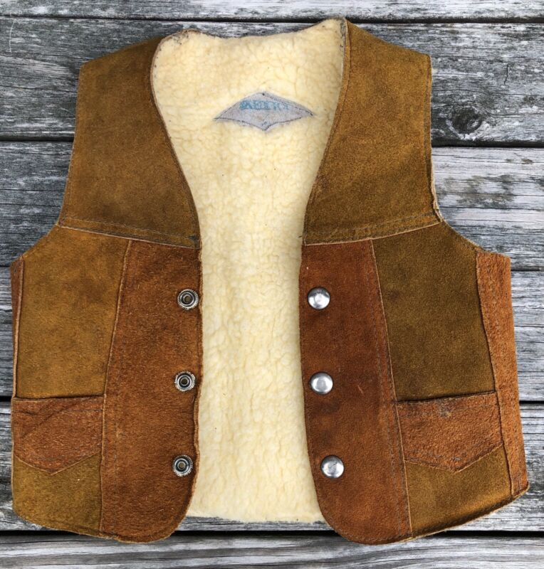 Vintage 1970s Leather Western Style Small Childs Vest