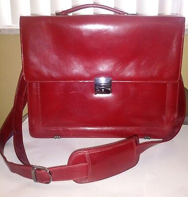 Scully Italian Leather Flapover Computer Briefcase 737AMahogany * Beautiful* - Flap Over Computer Briefcase