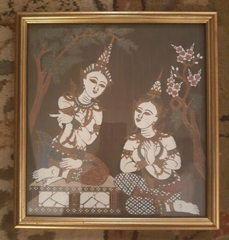 "Vintage Thai Wall Art Temple Goddesses Silk Screen Framed 11.5""× 12"" Buddhist"