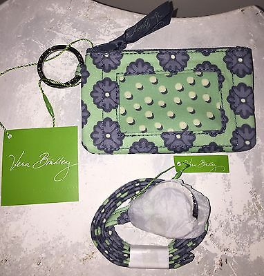 VERA BRADLEY Zip Id Case and Lanyard Badge Holder Key Ring NOMADIC BLOSSOMS NWT