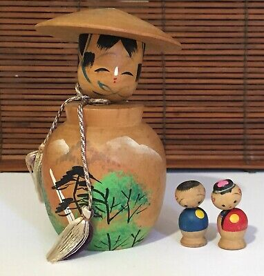 1950s Vintage Japanese Kokeshi Nodder Doll Lot Pair plus Large vase shape style