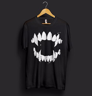 Jaws Halloween T Shirt Top Monster Shark Teeth Fangs Party Costume Cool Dope
