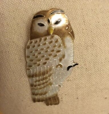 New 925 Sterling Silver Enameled Owl Brooch/Pin - Intricately Detailed