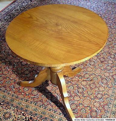 Biedermeier-Tisch-Dreifuss auf Säule mit runder Platte-Esche auf massiv Eiche