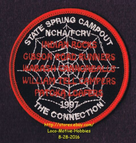 LMH PATCH Badge  1997 NCHA Spring Campout  Campers Hikers FCRV Family Spider Web