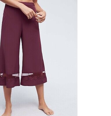 Anthropologie Eloise Breakfast in Bed Lounge Wine Pants Elastic Stretch  M