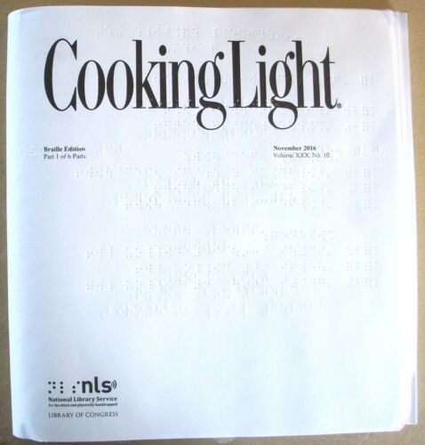 Cooking Light - December 2016 (Braille for the blind)