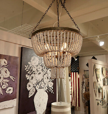 CREATIVE COOP FRENCH FARMHOUSE BEADED WOOD VINTAGE STYLE WHITE CHANDELIER  (Beaded Chandelier)