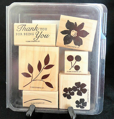 2006 Stampin Up BEST BLOSSOMS 6 pc RUBBER STAMP SET Thank You For Being