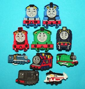 Thomas the Tank Engine Shoe Decorations 10 Trains Cupcake Cake Party Favours NEW