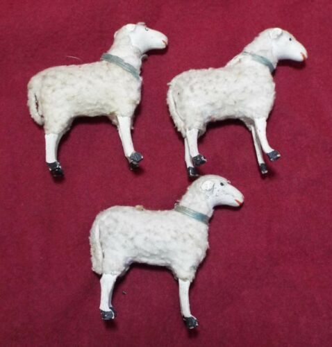 3 Miniature Antique 1880s SHEEP Paper Mache Wood  & Wool FIGURES Easter