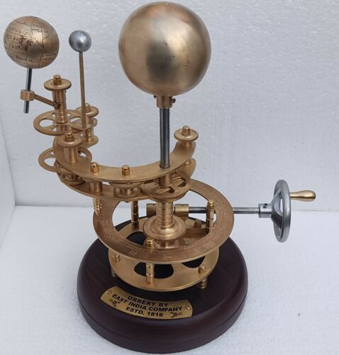 Metallic model of showing rotation of sun moon around earth..../Working