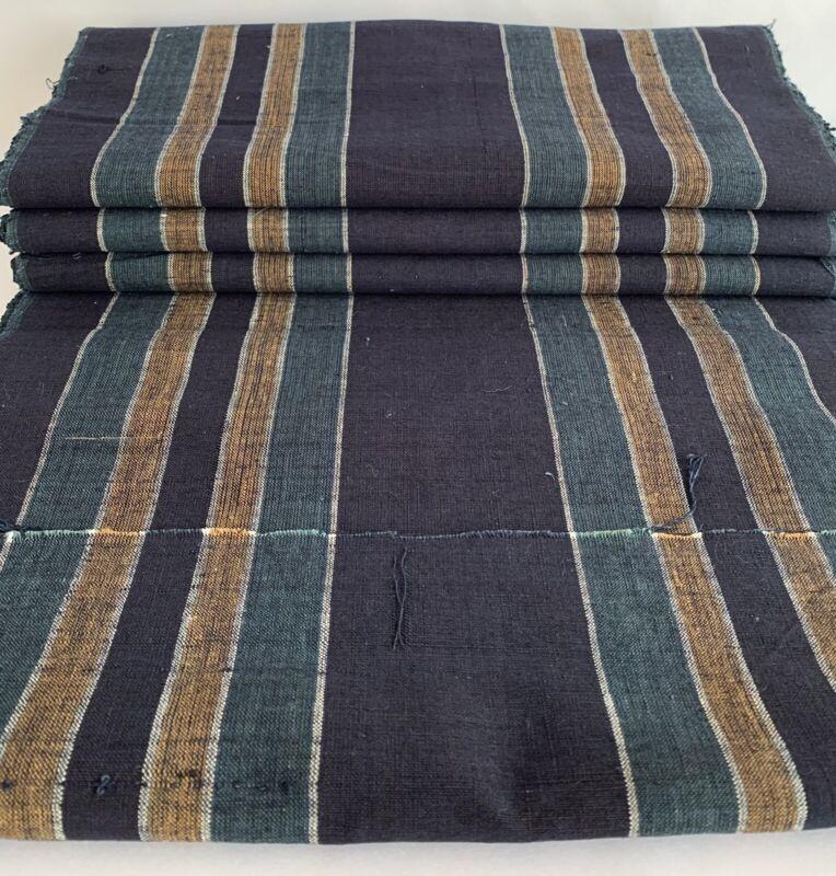 """Japanese Vintage Kimono Cotton Textile New-Old Stock Bolt Stripe 433.1"""" x 13.8"""""""