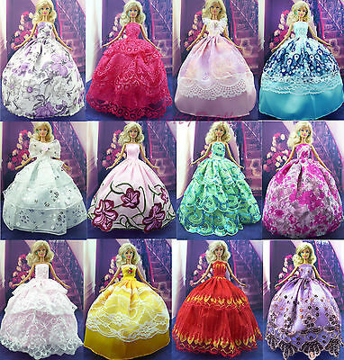 6x Handmade Wedding Dress Party Gown Clothes Outfits For Barbie Doll Random Gift