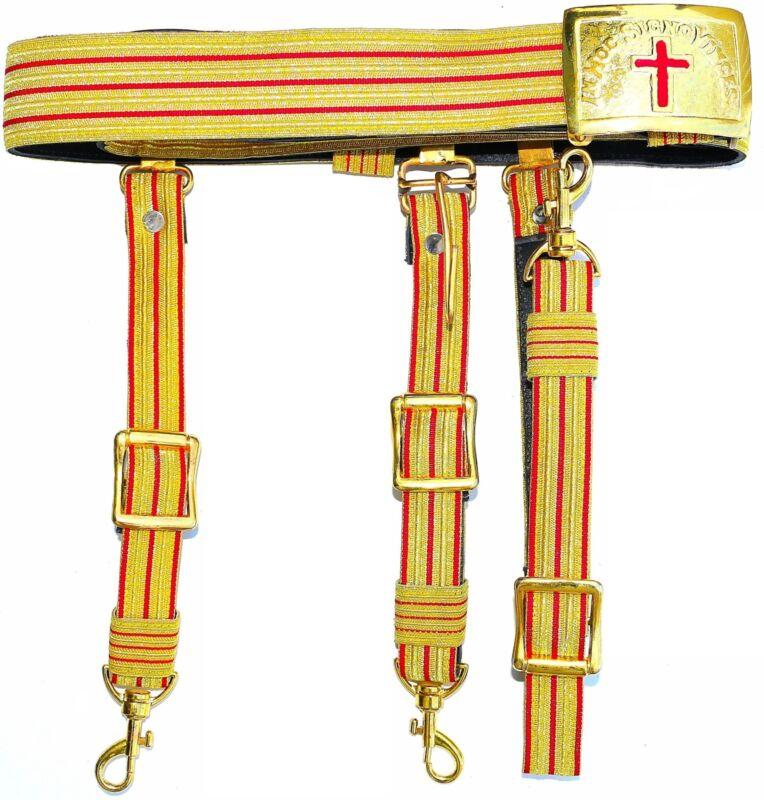 KNIGHTS TEMPLAR GOLDEN & RED Sword Belt & Buckle Sir Knight  Waist Size 48