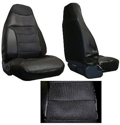 Black Padded Synthetic Leather Car Truck SUV High Back Bucket Seat Covers  #7