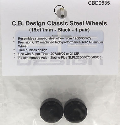 CB DESIGN 0250 5 SPOKE CLASSIS BLACK WHEELS 15x11 NEW 1//32 SLOT CAR PART