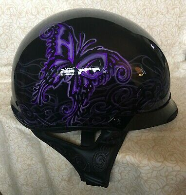 HARLEY DAVIDSON WOMAN'S LARGE ULTRA LIGHT HALF HELMET BLACK WITH PURPLE DESIGNS