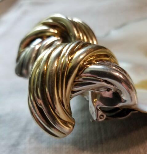 Sterling Silver 925 David Varsano Gold Vermeil Jumbo Twist Hoop Clip Earrings