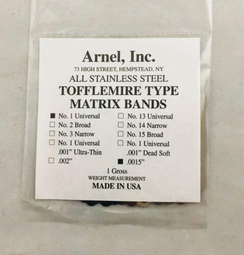 Tofflemire Stainless Steel Matrix Bands #1 .0015 Universal Gross Pk 144 Dental