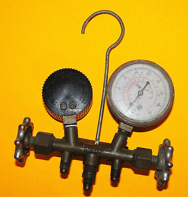 Vtg Used Untested Old Robinair Two-way Wheel Manifold Gauge Set