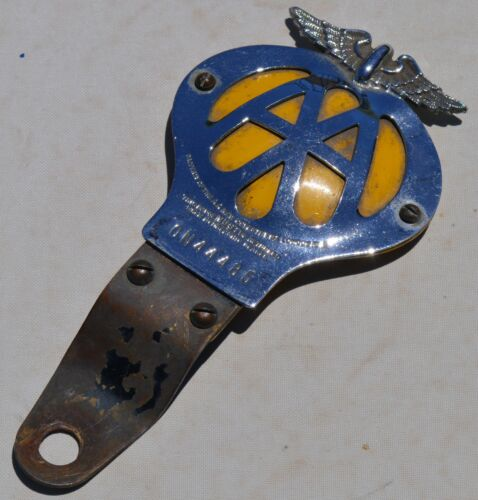 AA Automobile Association car grille badge c/w rare bumper mounting & adapter