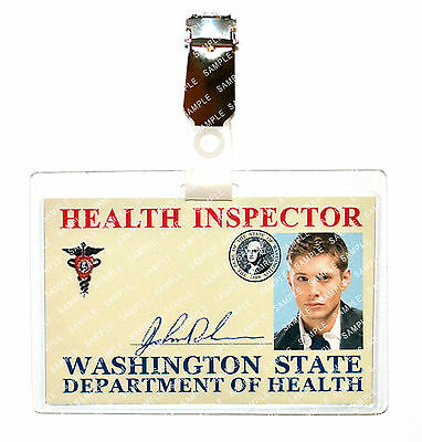 Supernatural Dean Winchester Health Inspector ID Badge Cosplay Costume Comic Con