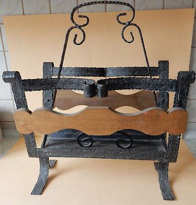 alter Zeitungsständer Schmiedeeisen mit Holz, Zeitungsbox