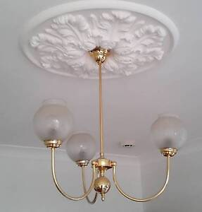 Brass Pendant Ceiling Light with three shades Eastwood Burnside Area Preview