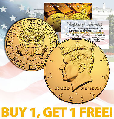 24K GOLD PLATED 2013 JFK Kennedy Half Dollar Coin w/Capsule * BUY 1 GET 1 * (Half Dollar Gold Coins)