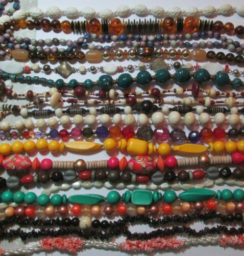 Mostly Vintage Lot All Earth & Jewel Tone Bead Necklaces