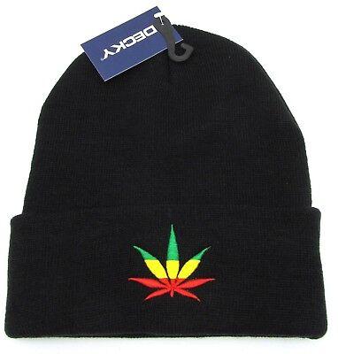 MARIJUANA Skull Cap Cuffed Beanie Winter Knit Hat Rasta Reggae Weed Cuff Black Black Cuffed Knit Beanie