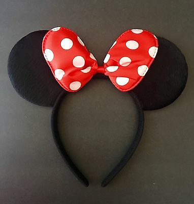 1PC Minnie-Mickey Mouse Ears Headband Red Polka Dot Bow Furry Ears-Disney](Red Polka Dot Minnie Mouse Party Supplies)