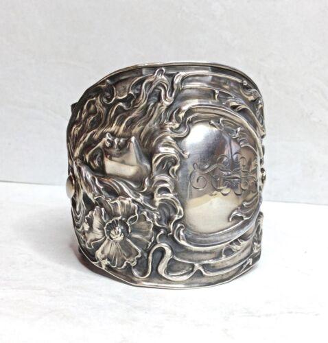 Vintage Antique Art Nouveau Sterling Silver Maiden Woman Leather Cuff Bracelet