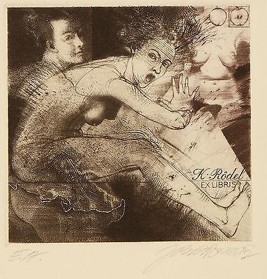 Jirí Brazda: Erotisches Exlibris für K. Rödel. Aquatintaradierung