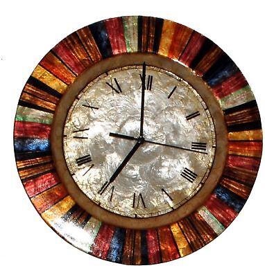 Mother Of Pearl Clock (Wall Clock Multi Color Handmade Mother of Pearl Capiz Metal Art Roman Numerals )
