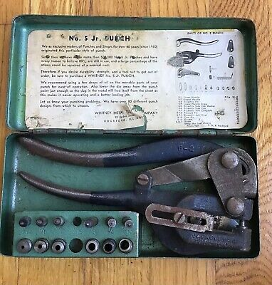 Vintage Roper Whitney No.5 Jr. Hand Punch Dies With Metal Case