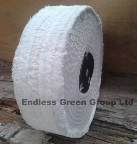 150mm X 40mm Stitched Cotton Buffing Wheel Wide