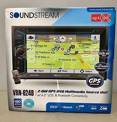 Soundstream VRN624B 2-DIN GPS Navigation Bluetooth In-Dash DVD/CD/AM/FM NEW