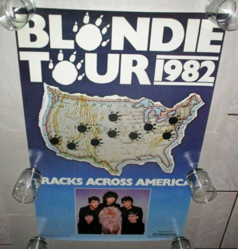 Blondie RARE 1982 The Hunter TOUR POSTER Tracks Across America NEAR MINT Pioneer
