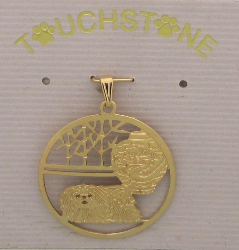 Pekingese Jewelry Gold Pendant by Touchstone