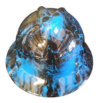 Hard Hat Msa Full Brim Blue Flaming Skulls W Free Brb Customs T-shirt
