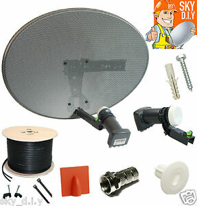 COMPLETE MK4 SATELLITE DISH KIT + SKY HD QUAD LNB & 10M TWIN BLACK COAX CABLE
