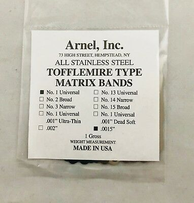 Tofflemire Stainless Steel Matrix Bands 1 .0015 Universal Gross Pk 288 Dental