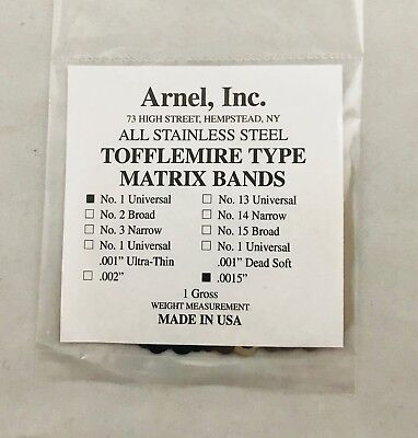 Tofflemire Stainless Steel Matrix Bands 1 .0015 Universal Gross Pk 144 Dental