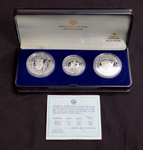 YUGOSLAVIA 1985 SKI JUMPING CHAMPIONSHIP 3 COIN SILVER PROOF SET
