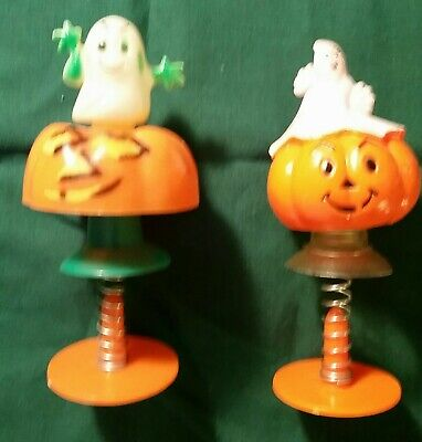 2 Vintage Halloween Hard Plastic Spring Pop Up Pumpkin & Ghost Decorations ](Pop Up Halloween Decorations)