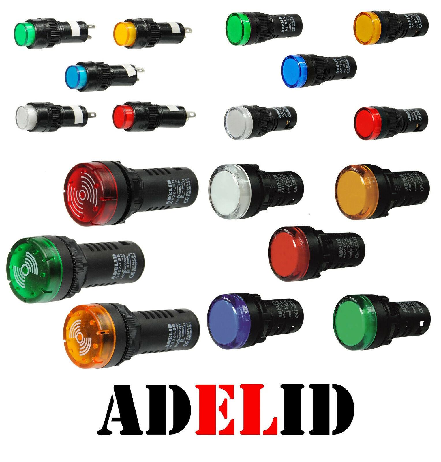 LED Signalleuchte Kontrollleuchte Leuchtmelder 22mm 16mm 10mm Ø BUZZER 12/24/230